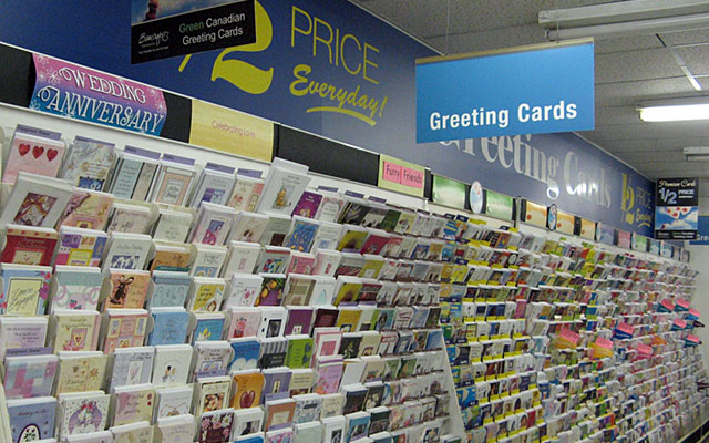 Wide range of greeting cards at the store