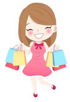brunette caricature of a smiling shopper loaded down with gift bags